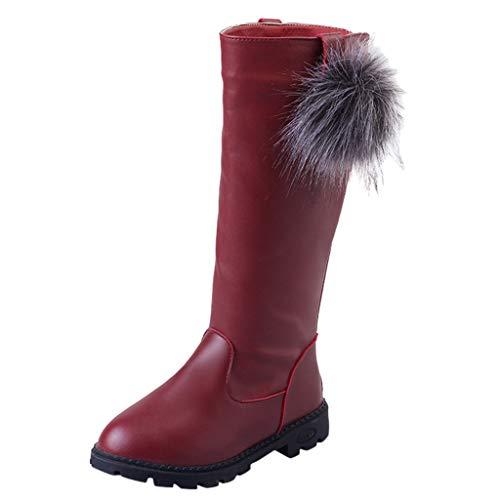 HDUFGJ Mädchen Stiefel Plus Samt Warm halten Schneestiefel Lederstiefel Chelsea Boots Boots kurz Outdoor Winterstiefel Stiefeletten Springerstiefel Keilstiefel Langschaft 35 EU(Wein)
