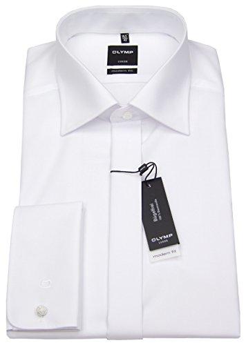 Olymp Hemd Gala weiss, Einfarbig, Größe 41 - L