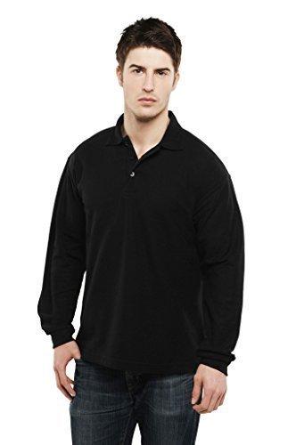 Manga Larga Camisa Polo Simple Ocio Casual Ropa De Trabajo Reforzado Cuello UC113   sintético, Negro, 50% poliéster 50% algodón, Unisex, XX Large