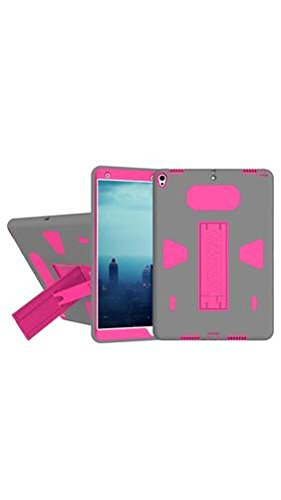 ELECTROPRIME for iPad Pro 10.5 inch PC+Silicone Shockproof Protective Back Cover Case with Holder (Magenta + Grey)