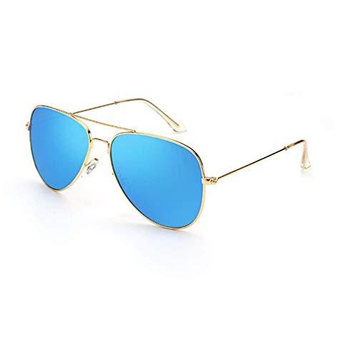KISlink Sonnenbrille für Männer Frauen Aviator Polarized Metal Mirror UV 400 Linsenschutz (Farbe: Gold/Ice Blue)