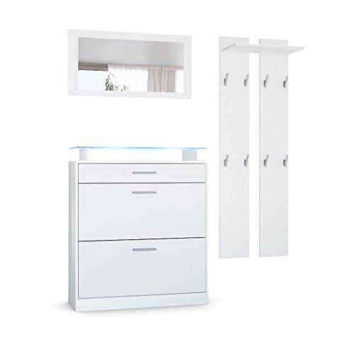 Vladon Garderobenset Garderobe Loret Mini, Korpus in Weiß matt/Front in Weiß matt