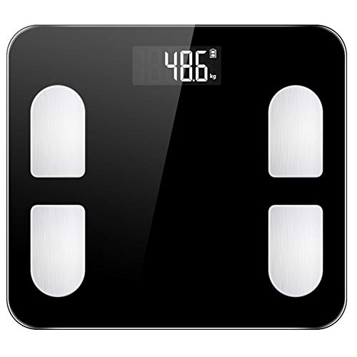 JELY Waage, Präzisions-Digital-Körper-Personenwaage 5 mm gehärtetes Glas Easy Read beleuchtetes LCD-Display für Körpergewicht Körperfett BMI Viszeralfett