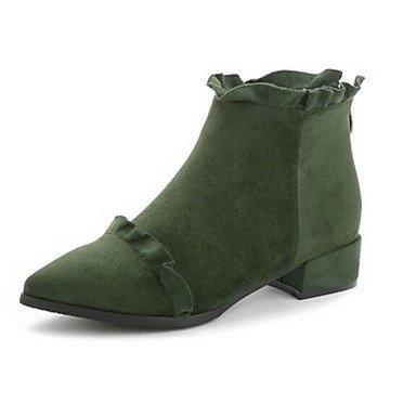 GLL&xuezi Da donna Stivaletti Comoda Stivaletti alla caviglia Primavera Autunno Pelle nubuck Casual Nero Verde militare 7,5 - 9,5 cm army green