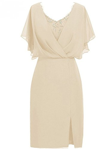 JAEDEN Abendkleider Damen Ballkleid Chiffon Kurz Mother of Bride Dress V-Ausschnitt Champagner EUR44