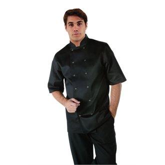 Preisvergleich Produktbild Whites Chefs Apparel a439-l Whites Vegas Kochjacke, kurz Ärmel, groß, Schwarz
