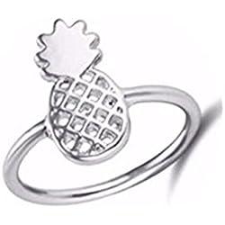 Anillo de piña, anillos de piña, anillo de piña, anillo de plata, piña dorada, anillo de verano de piña