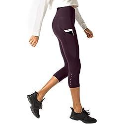 LAPASA Legging avec Poches Capri/Pantacourt de Sport Femme Coupe Genoux Amincissant - Yoga Fitness Jogging Gym L02 - Bordeaux (Poches Sur les Côtés) - Taille 42/XL