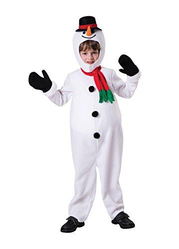 Schneemann Kostüm Zubehör - Bristol Novelty CF107Schneemann-Kostüm für Jungen, weiß, Größe 5-7 Jahre