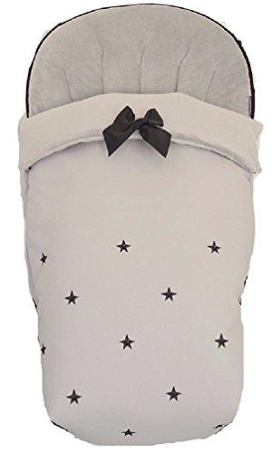 BORDAYMAS/ Winterfußsack für Kinderwagen, Aus wasserdichtem grauem synthetischem Kunstleder, bestickt mit Sternen in schwarzem und extra - weichem grau synthetischem Haar. Hergestellt in Spanien