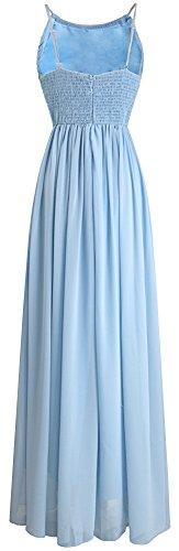Angel-fashions Femme Plissee en mousseline de soie Spaghetti Strap A-ligne de robe de mariee Bleu
