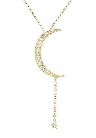Elli - Collier court - Plaqué or - Etoiles Demi-lune - Oxyde de Zirconium - 6 cm - 0105170317_45