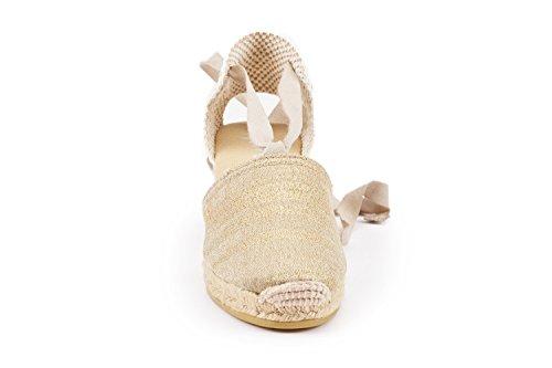 "VISCATA Escala 2.5"" Heel, Soft Ankle-Tie, Closed Toe, Classic Espadrilles Heel Made in Spain Gold"