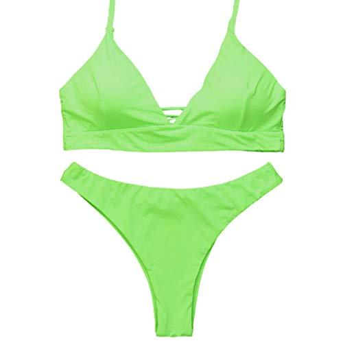 SuperSU-Bademode ►▷Sommer Damen Mode Einfach Klassiker Bikinis Push up Bikini Einfarbig High Waisted Badebekleidung Frau Lässiges Urlaub Strand Beachwear Zweiteiler Split Badeanzug