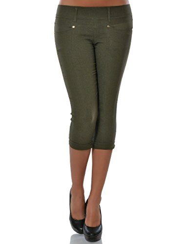Damen Capri Hose Sommerhose Kurze-Hosen (weitere Farben) No 15527, Farbe:Khaki;Größe:44 / 2XL