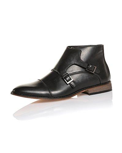 BLZ Jeans - Chaussure Homme Noir Chic Effet Cuir à Boucles