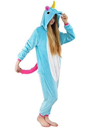 Fleece Kapuzen Kostüm - Unbekannt Damen Fleece Einteiler Nachtwäsche Pyjama Kostüm Kapuze Einhorn blau Gr. M