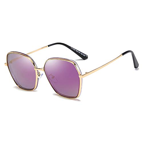 Trendy Square Frames Sonnenbrillen, Ladies Metal Polarized Spectacles für Frauen,Purple
