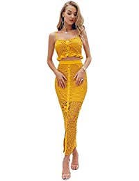 d3d8f4265ca1 Glamaker Women's Two Piece Bodycon Lace Floral Dress Outfit Strap Button  Down Maxi Dress Set