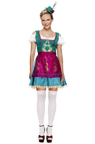 Hut Satin Adult Weiß - Fever, Damen Deluxe Dirndl Kostüm, Kleid,