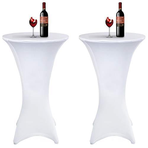 Tischdecke 2 Stück, Acelectronic Stretchy Tischhussen für Stehtische/Bistrotisch/Tischdurchmesser Ø 80-85cm in Weiß - Tisch Husse für Feiern Veranstaltungen Hochzeit Dekoration - Eleganter Tischüberzug für Tische mit 4 Füßen (Ø 80-85cm, Weiß)