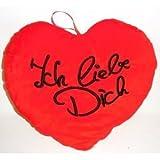 Produkt-Bild: Plüschkissen in Herz-Form ICH LIEBE DICH 34cm rot