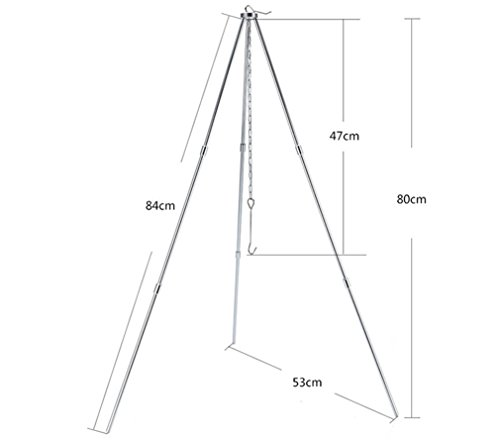 BrilliantDay 32-inch Height Portable Tripod Grilling Set Outdoor Garden Patio Tripod BBQ – Outdoor Picnic Camping BBQ…