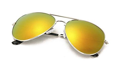 Kinder Pilotenbrille mit Edelstahl Metall Gestell Sonnenbrille Unisex 4sold (Orange Spiegel)