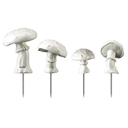 Hutschenreuther 02468-800001-24630 Märchenwald Set Adventskranzstecker aus Porzellan 4 Pilze, Höhe 4.5 - 6.5 cm, weiß