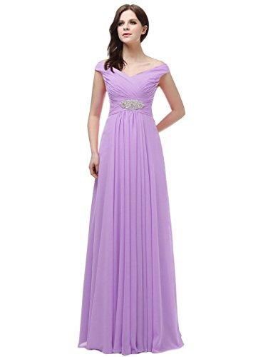 jydress womes de Col en V robe de soirée longue dos-nu en mousseline de soie Violet - Lavande