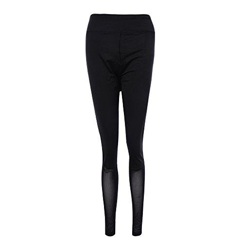 laamei 1pc Legging Pantalon de Sport Slim Femme Yoga Fitness Gym Taille Haute Respirant Sechage Rapide Imprimées Stretch Pantalon Noir