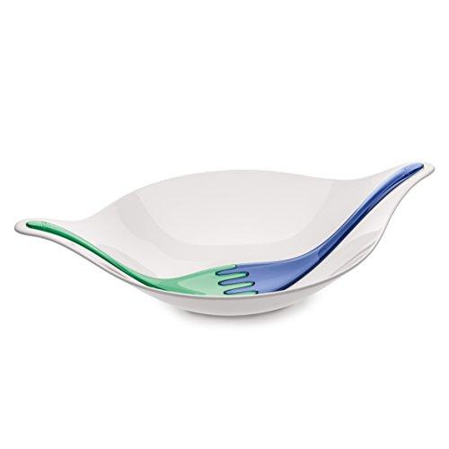 Koziol Leaf L+ Coupe à Salade avec Couvert, Couvert à Service, Coupe, Saladier, Taupe et Corail, Plastique, Blanc et Bleu Cl. Tr./Menthe, 3692114