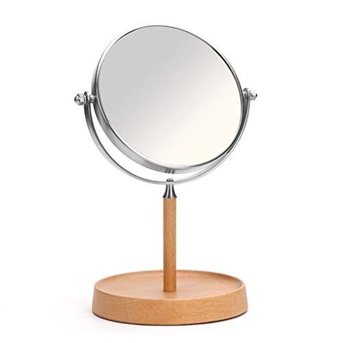Ggjmirror Espejos compactos Espejo De Escritorio De Madera Hecho A Mano, Simple Espejo De Vanidad De Escritorio Voltear HD Lupa (Tamaño : 21.5x34cm)