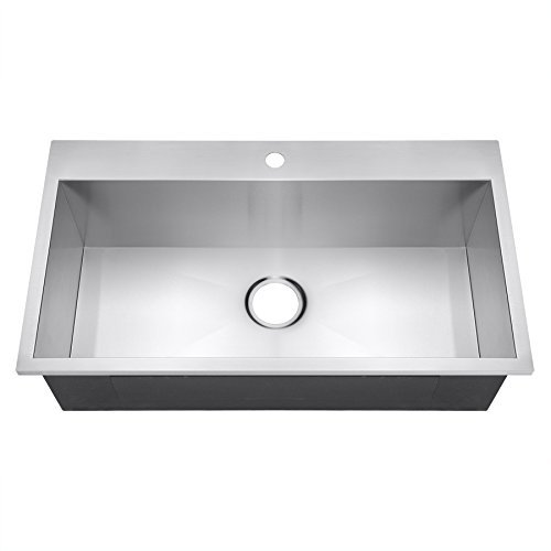Golden Vantage 32 Handmade Top Mount Single Bowl Drop-In 16 Gauge Stainless Steel Kitchen Sink by Golden Vantage - Single Sink Kitchen 16 Bowl Gauge