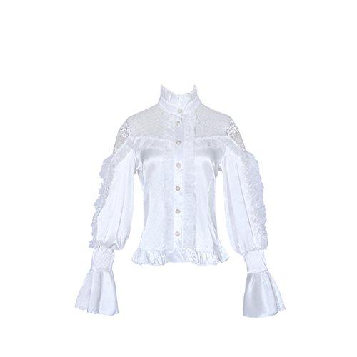 en Bluse Gothic Shirt Tops Schwarz (Weiß, Medium) (Schwarz Und Weiß Viktorianischen Perücke)