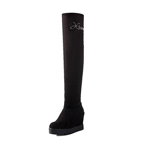 AllhqFashion Damen Reißverschluss Eingelegt Hoch-Spitze Stiefel mit Beschlagene Strass, Weiß, 38