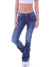 Damen Bootcut Jeans Hüftjeans Schlaghose Schlagjeans Blau Stretch Hose 46b09da6bf