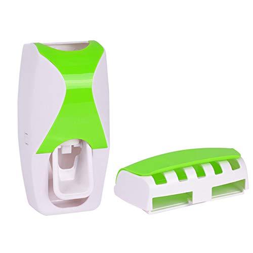 Lin-Tong Zahnbürstenhalter Automatische Zahnpastaspender Set Staubdicht mit Super Sticky Saug Pad Wall Mounted Kinder Hände frei Zahnpasta Squeezer für Waschraum Badezimmer Grün
