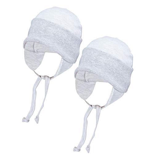 TupTam Baby Erstlingsmütze mit Ohrenklappen 2er Pack, Farbe: Grau Meliert, Größe: 50/56