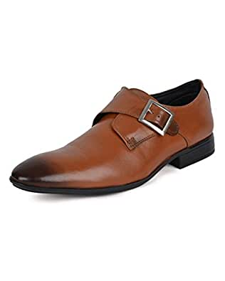 Ziraffe MADRID Genuine Leather Tan Men's Monk Strap Formal Shoes (11 UK)