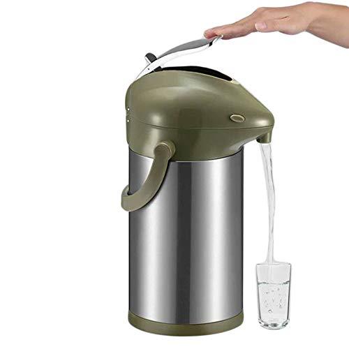 Airpot Pumpkanne Thermoskanne Isolierkanne Edelstahl Kaffee, Tee Krug, Hohe Kapazität Gute Qualität Vakuum Isoliert Mit Tragegriff, Thermosflasche Für Zuhause, Büro, Camping (Grün,3L)
