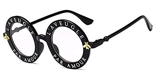 Lunettes,Lunettes de soleil,Retro Runde Sunglasses Englisch Buchstaben Little Bee Sunglasses Women Marke Brille Designer Mode Weiblich