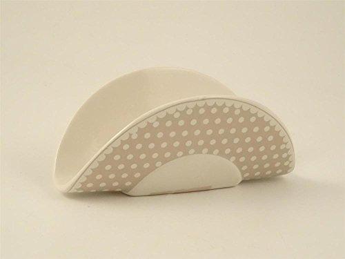Porta tovaglioli in ceramica bianca e grigia a pois,