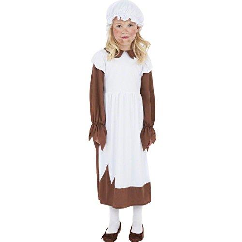 NET TOYS Kinder Dienstmädchen Kostüm Magd Mittelalterkostüm braun weiß L 158 cm Kinder Bäuerin Kostüm Magdkostüm Dienstmädchen Kleid Maid Zofe