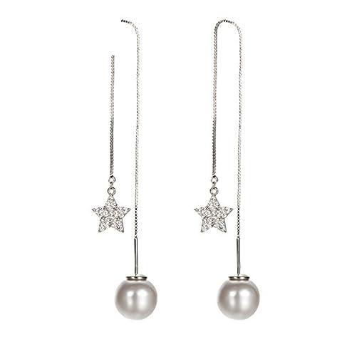 Oreille perle faux star line tempérament longues boucles d'oreilles/ ornement d'oreille/[Personnalité oreille bijoux]-A
