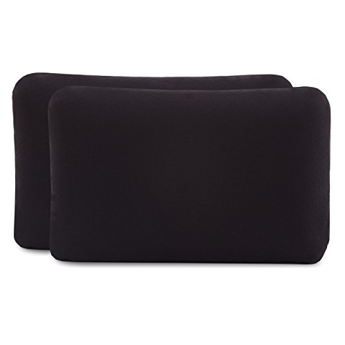 Kissenbezug Doppelpack (2er Set, Schwarz uni) für Reisekissen oder Kinderkissen mit den Maßen 40x25 cm, speziell für VOLAR - 100{8171949e69906ad278be6bfcfba97c503439ded76d9337a1268cdf29ec4d87e6} Baumwolle, nahtlos gestrickt, guter Fit, mit Reißverschluss