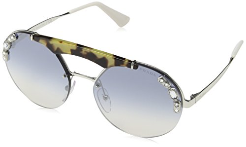 Prada Damen 0PR52US 23C5R0 37 Sonnenbrille, Silber Medium Havana/Light Blue Silver
