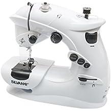 Maquina de coser portatil 7 puntadas corriente y pilas pedal costurera con luz