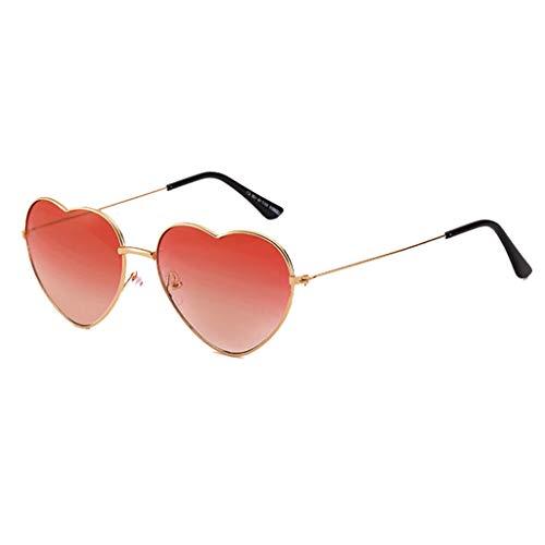 Hhyyq Persönlichkeit Bunte Brille Metall Herz Trends Männer Und Frauen Sonnenbrille Herzform Frau Frameless Transparente Flache Spiegel Designer Lässige Mode Unisex(E)