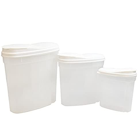 3Pc Nested Food Cereal Storage Dispenser Clear Plastic Containers Set Flip Lid Easy Pour Great For Flour Rice Pasta